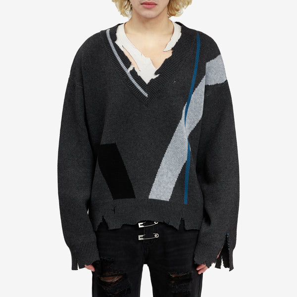 Distressed Geometry Knit Layered Sweater