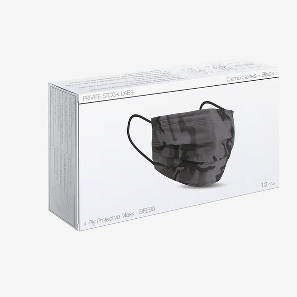4-Ply Black Camo Protective Mask