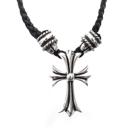 Chrome Hearts Crimpt CH Cross Small Leather Braided Pendant at Feuille Luxury - 1