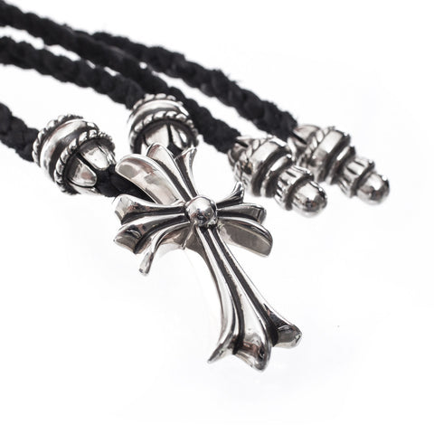 Chrome Hearts Crimpt CH Cross Small Leather Braided Pendant at Feuille Luxury - 4