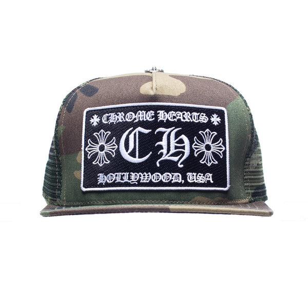 Chrome Hearts CH Patch Camo Trucker Cap at Feuille Luxury - 1