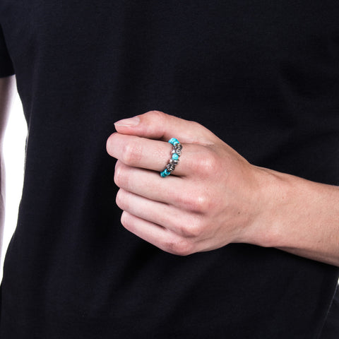 Chrome Hearts CH Plus Spacer Turquoise Bead Ring at Feuille Luxury - 4