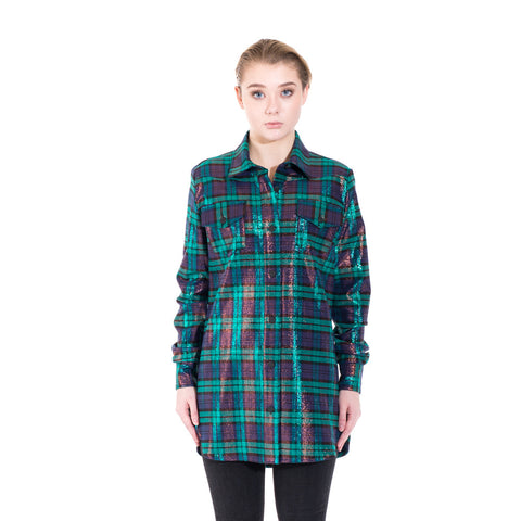 Off-White Lurex Check Shirt at Feuille Luxury - 1
