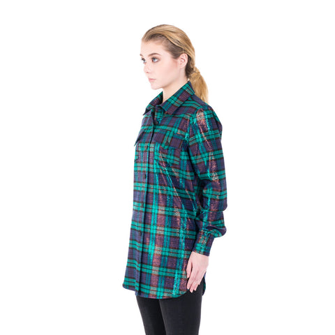 Off-White Lurex Check Shirt at Feuille Luxury - 2