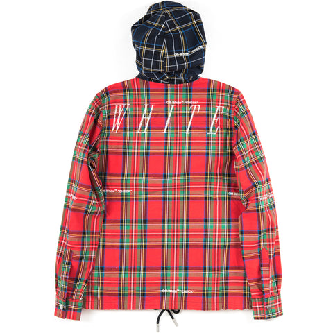 Red Hoodie Check Shirt