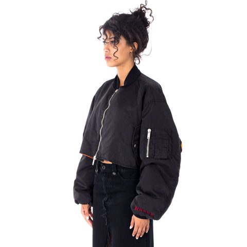 Vision Oversized Cropped Bomber Jacket
