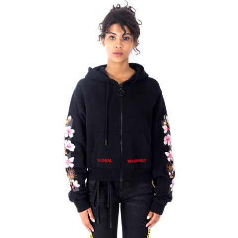 Diagonal Cherry Crop Zip Hoody