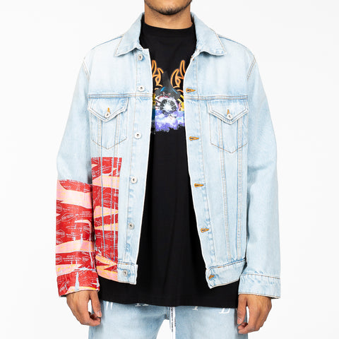 Tape Print Denim Jacket
