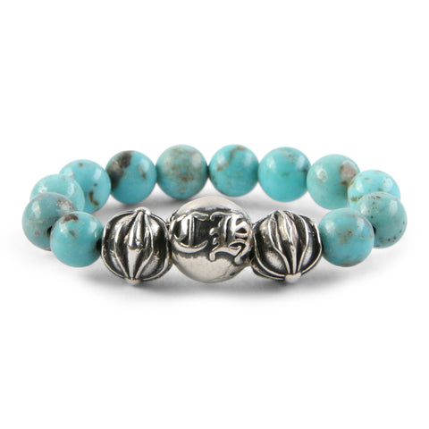Chrome Hearts CH Plus Ball Turquoise Bead Ring at Feuille Luxury - 1