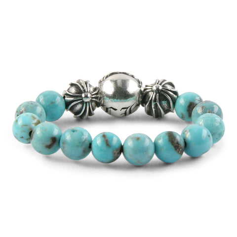 Chrome Hearts CH Plus Ball Turquoise Bead Ring at Feuille Luxury - 2