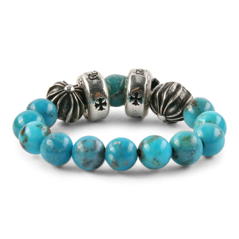 Chrome Hearts CH Plus Spacer Turquoise Bead Ring at Feuille Luxury - 2