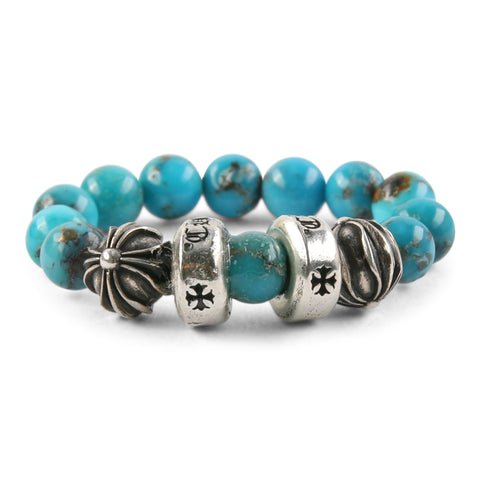 Chrome Hearts CH Plus Spacer Turquoise Bead Ring at Feuille Luxury - 1