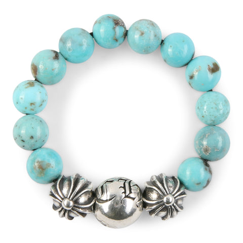 Chrome Hearts CH Plus Ball Turquoise Bead Ring at Feuille Luxury - 3
