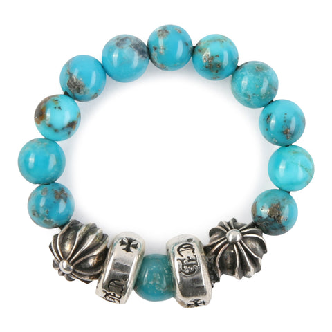 Chrome Hearts CH Plus Spacer Turquoise Bead Ring at Feuille Luxury - 3