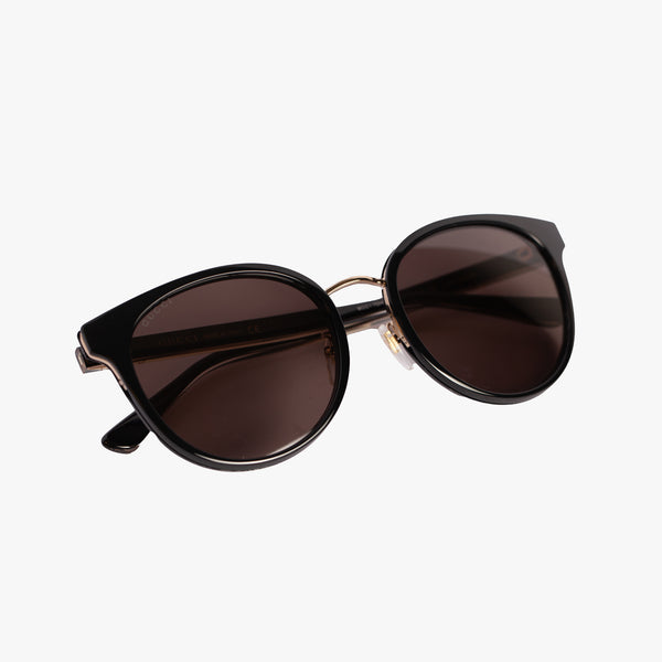 Ladies Black Round Acetate Sunglasses