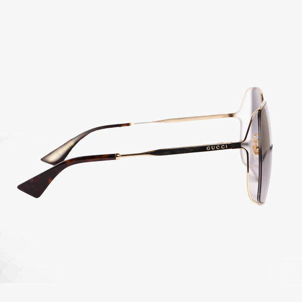Ladies Gold Square Metal Sunglasses