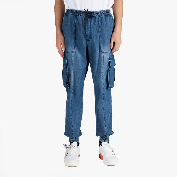 Blue Denim Cargo Sweatpants