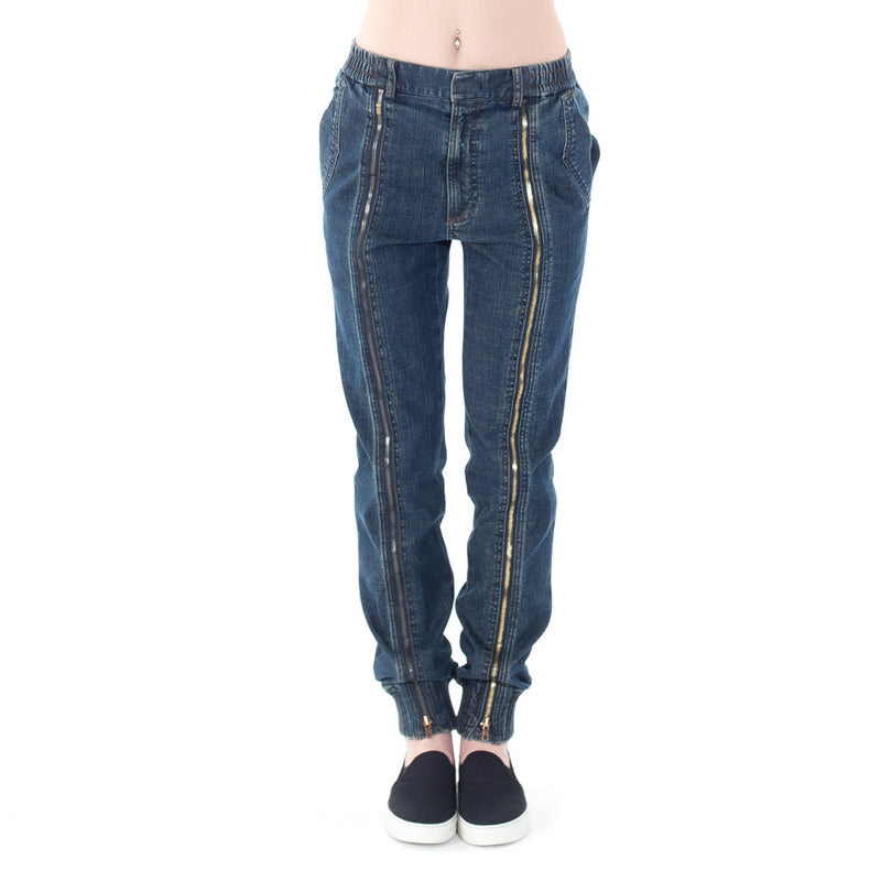 Zipper Denim Sweatpants