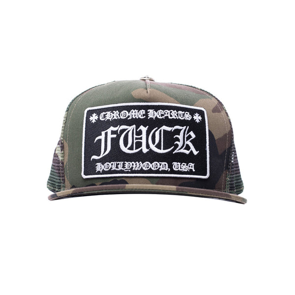 Chrome Hearts F#CK Patch Camo Trucker Cap at Feuille Luxury - 1