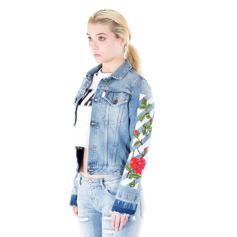 Roses Vintage Wash Denim Jacket