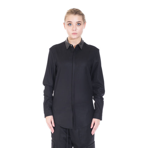 Juun.J Leather Collar Dress Shirt at Feuille Luxury - 1