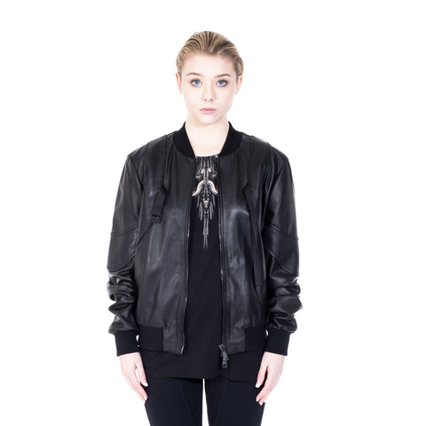 Marcelo Burlon Rawson Leather Bomber at Feuille Luxury - 2