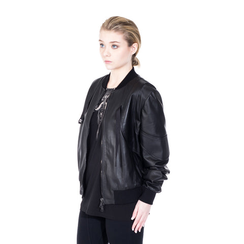 Marcelo Burlon Rawson Leather Bomber at Feuille Luxury - 5