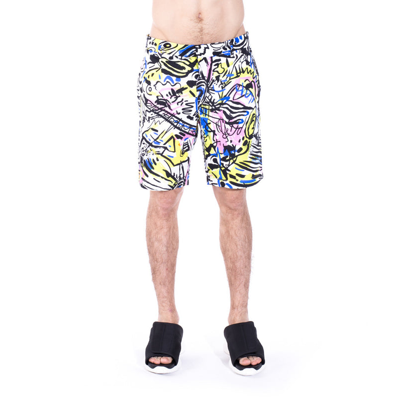 Moschino Multi Color Graffiti Shorts at Feuille Luxury - 1