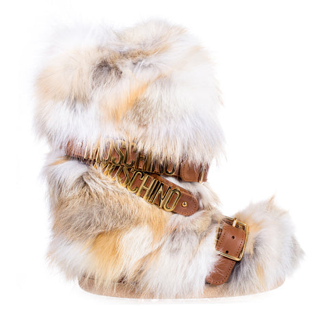 Moschino Ladies Fur Hardware Snow Boots at Feuille Luxury - 1