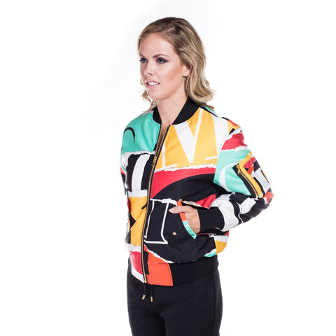 Ladies Collage Bomber Jacket