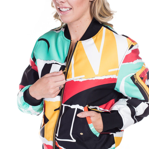 Moschino Ladies Collage Bomber Jacket at Feuille Luxury - 4