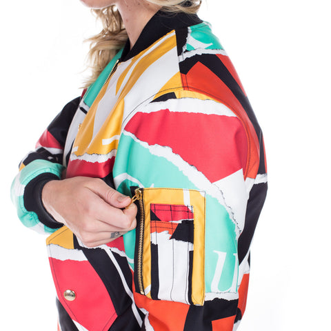 Moschino Ladies Collage Bomber Jacket at Feuille Luxury - 5