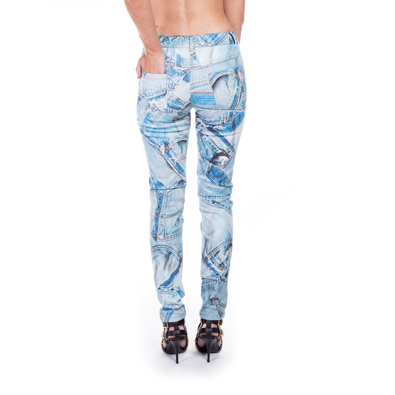 Moschino Ladies Denim Printed Jeans at Feuille Luxury - 4