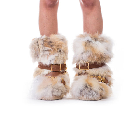 Moschino Ladies Fur Hardware Snow Boots at Feuille Luxury - 3