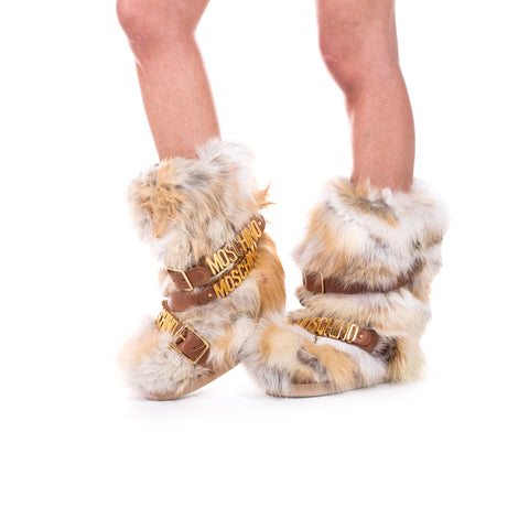 Moschino Ladies Fur Hardware Snow Boots at Feuille Luxury - 4