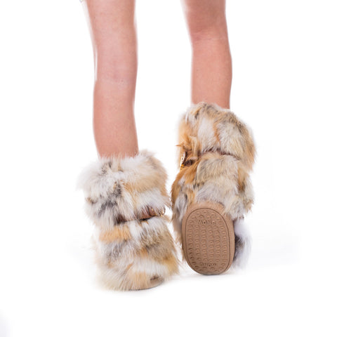 Moschino Ladies Fur Hardware Snow Boots at Feuille Luxury - 5