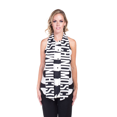 Moschino Ladies Large Print Silk Top at Feuille Luxury - 1