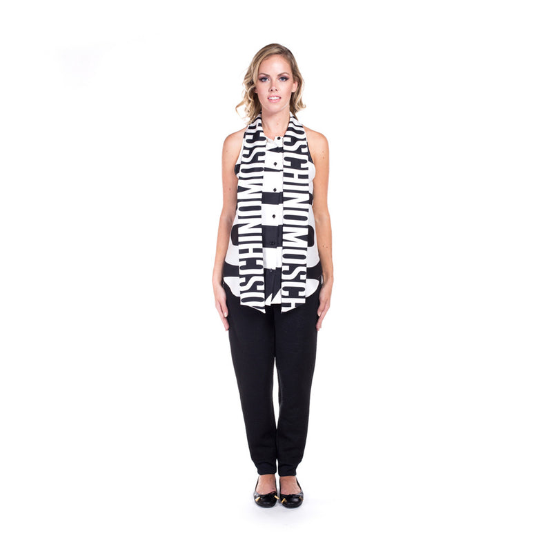 Moschino Ladies Large Print Silk Top at Feuille Luxury - 4
