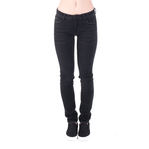 Ladies Diagonal Scratch Skinny Jeans