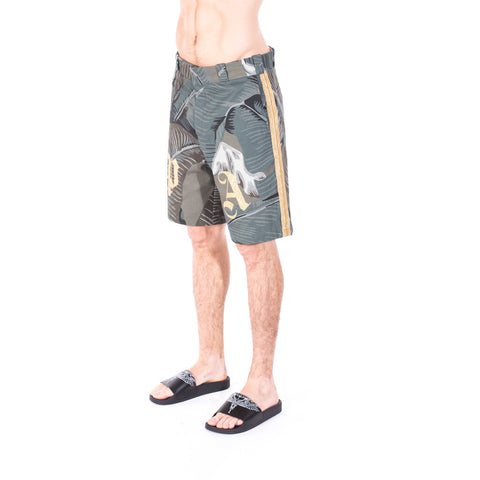 Palm Angels All Over Banana Leaf Shorts at Feuille Luxury - 3