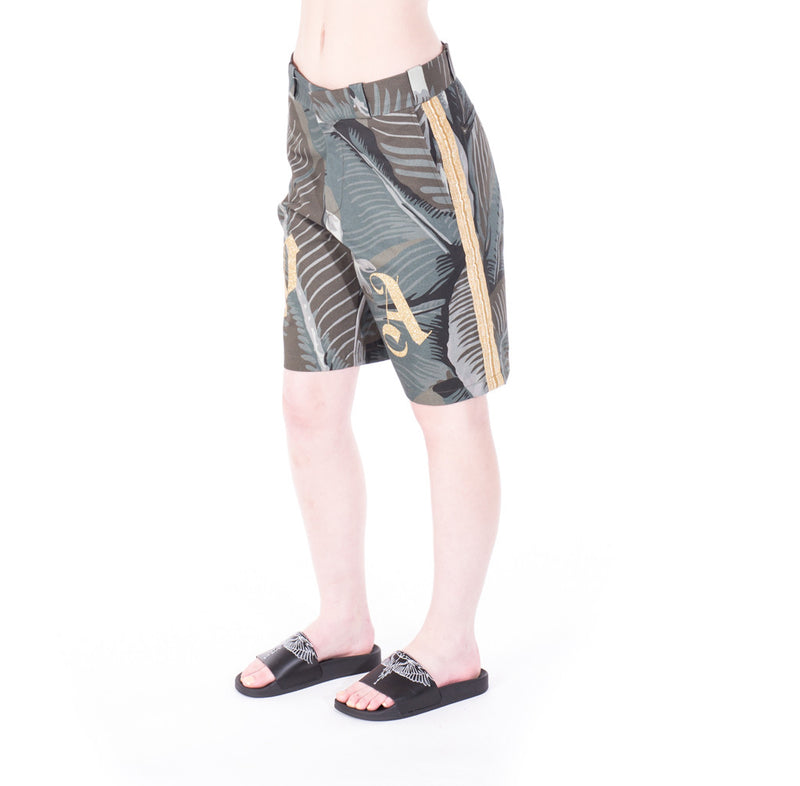 Palm Angels All Over Banana Leaf Shorts at Feuille Luxury - 5