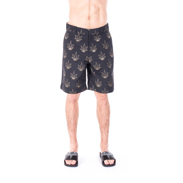 Palm Angels Tuxedo Marihuana Shorts at Feuille Luxury - 1
