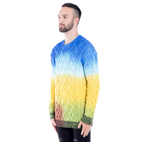 Rainbow Cable Knit Sweater
