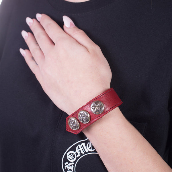 Chrome Hearts Five Point Star Leather Bracelet at Feuille Luxury - 2