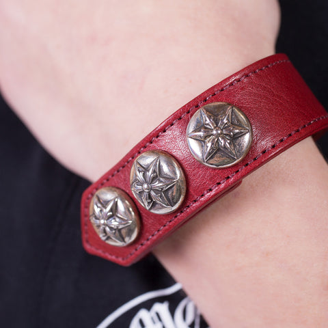 Chrome Hearts Five Point Star Leather Bracelet at Feuille Luxury - 3
