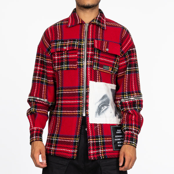 Red Check Zipped Shirt