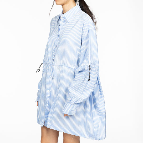 Stripe Drawstring Oversize Shirt
