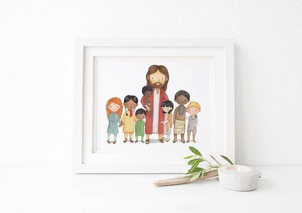 Christ and Children of the World Print
