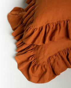 Golden Ochre Linen Ruffled Pillowcase - 100% French Flax Linen - Ginger Dream