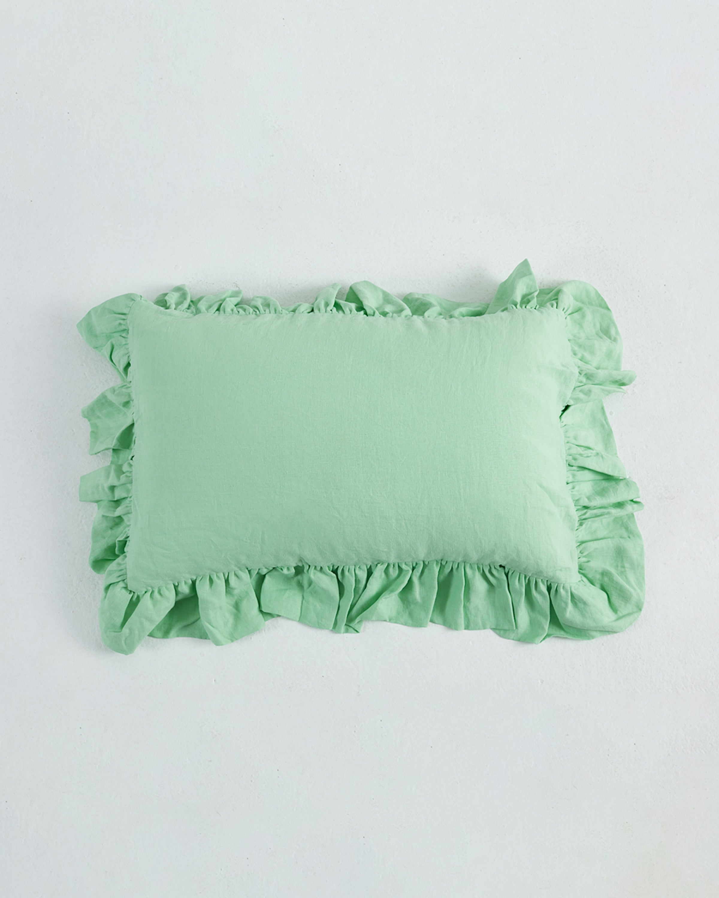 Exclusive Color Neo Mint Ruffled Linen Pillowcase 100 French Flax Linen Ginger Dream